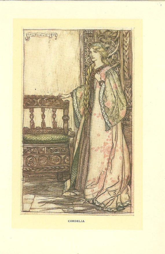 Arthur Rackham Print -Cordelia  Daughter Of King Lear -1909 Tales From Shakespeare. Ideal for Framing.