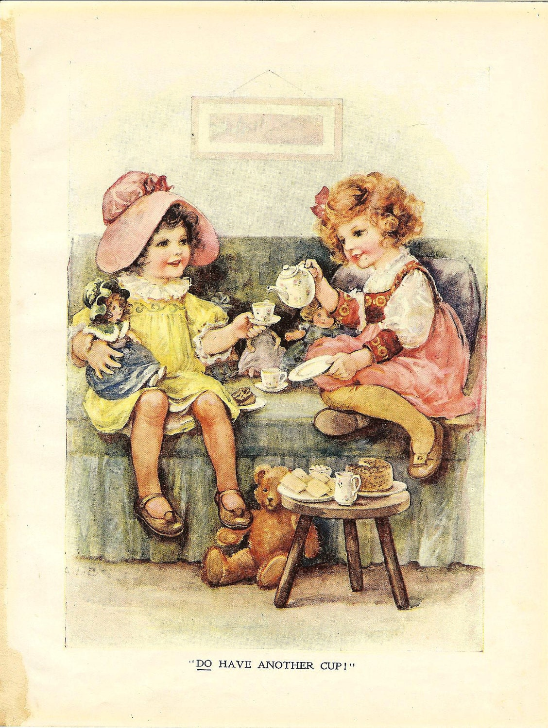 Two Little Girls And Dolls Tea Party Vintage 1915 Print Ideal