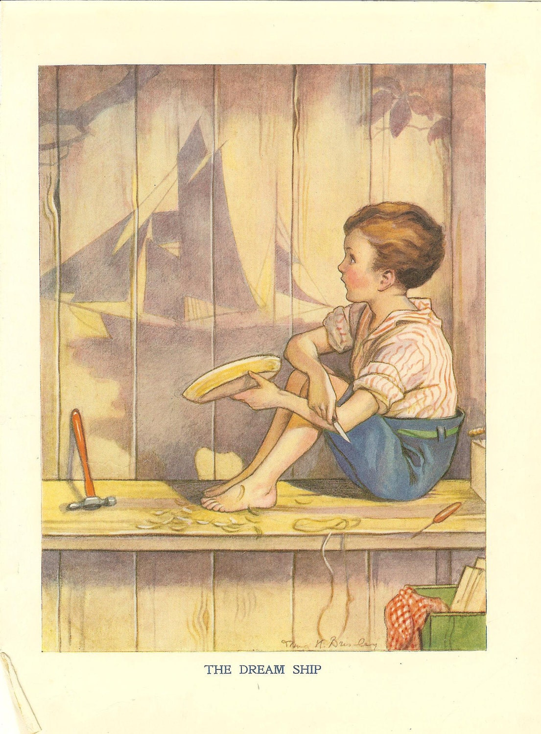 1923 Vintage Childrens Print Boy Sitting Whittling A Boat Out