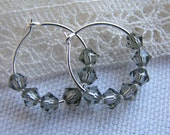 Sterling Silver Hoops with Swarovski Crystals Free International Shipping
