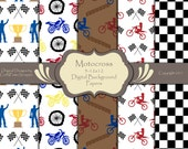 Motocross Mini Pack Printable Digital Background Sheets 12x12 Personal or Commercial use