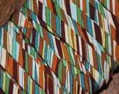 1/2 inch Double Fold Bias Tape Earth Tones Blue Green Brown 3 Yards