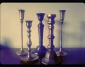 SALE- Set of 5 Vintage Candlesticks