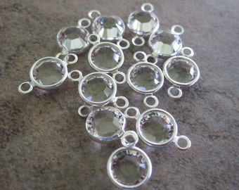 20 Swarovski Crystal with Silver-Plated Brass Links, Crystal Passions, Crystal Clear, 6.14-6.32mm Faceted Round - JD56