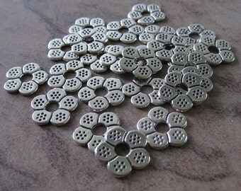 25 Antiqued Silver-Plated Pewter Beads, 12x1mm Double-Sided Flower Rondelle with 3mm Hole - JD102