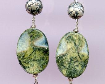 Russian Green Wave Earrings