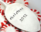 Vintage Silver Plated Hand Stamped Spoon Christmas Ornament - christmas 2012