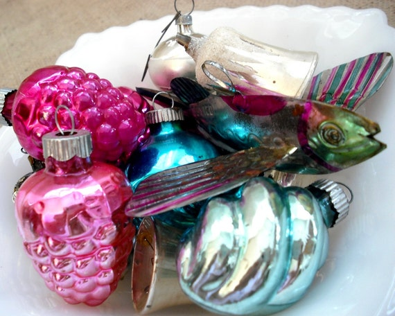 Reserved for S - Vintage Glass Christmas Ornaments in Shabby Shades of Pink, Aqua Blue, and Silver - Set of 12