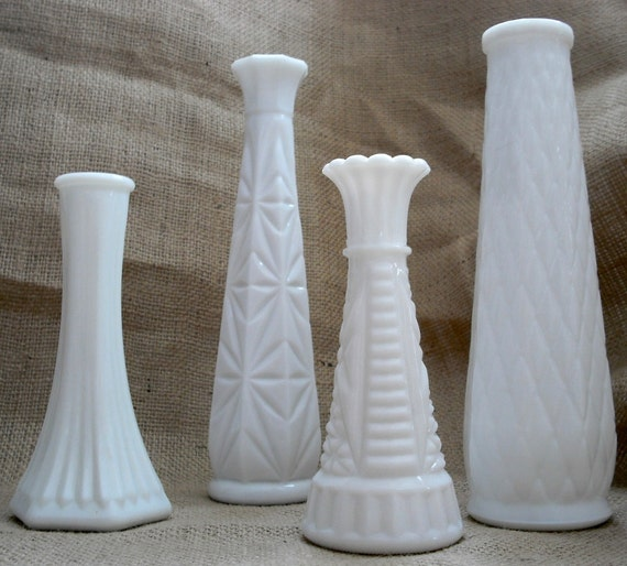 Vintage E O Brody White Milk Glass Vases By Theloosegoose
