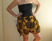 Dutch Wax Cotton Drawstring Bubble Shorts in Yellow Lip and Eye