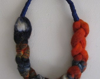 Wool Neck Ornament in Navy Blue and Rust Shibori