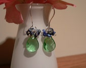 Lapis Lazuli Gemstone Chips and Green Glass teardrop beads