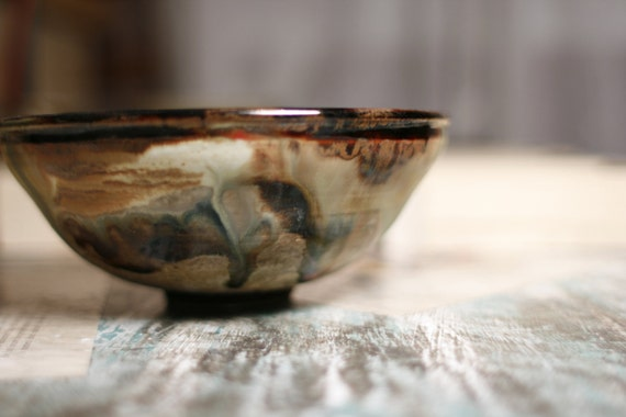 rustic earthy medium pottery bowl