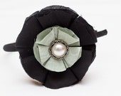 Fabric Flower Heaband-Black with Vintage Button