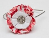 Fabric Flower Headband-Pink and Red with Diamond Button