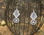 White Flower Lace Earrings