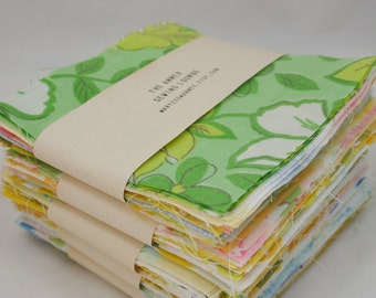 """Precut Charm Pack of 40 - 5"""" squares from Vintage Sheets"""