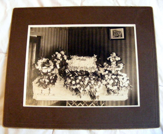 Grandma Iverson's Casket - Large Antique Photograph