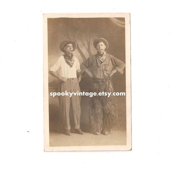 Bizarre RPPC Men in Western Attire Smoking Cigars - Very Unusual Wooleys, Bandanas, Hats (1904 - 1918)