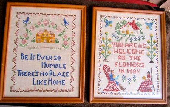 Vintage cross stitch embroidery pictures framed 1960's