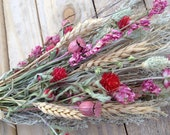 Dried Flower, Wheat, and Herb Bouquet in Pinks & Greens.