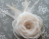 Hair flower fascinator - Ivory organza flower with peachy undertones - with feathers and rhinestone center