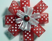 SALE - Red and white lady bug hair barrette