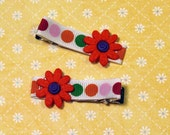 CLEARANCE - White, orange, and polka dotted hair bow clippie barrettes