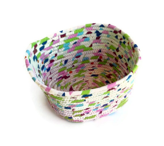 Fabric coiled bowl - Off white with multi-colors - medium