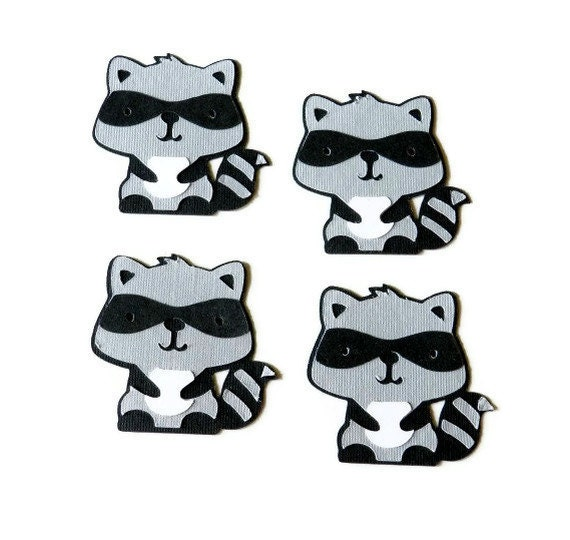 Raccoon die cuts - 4 dies (2 in.) - you choose you colors (C6)