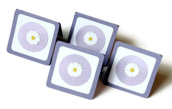 CLEARANCE - Purple flower notecards - set of 4