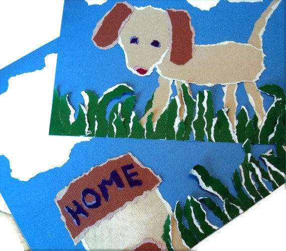 Two premade scrapbook pages - dog and house