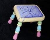 Hand painted trompe l'oeil footstool