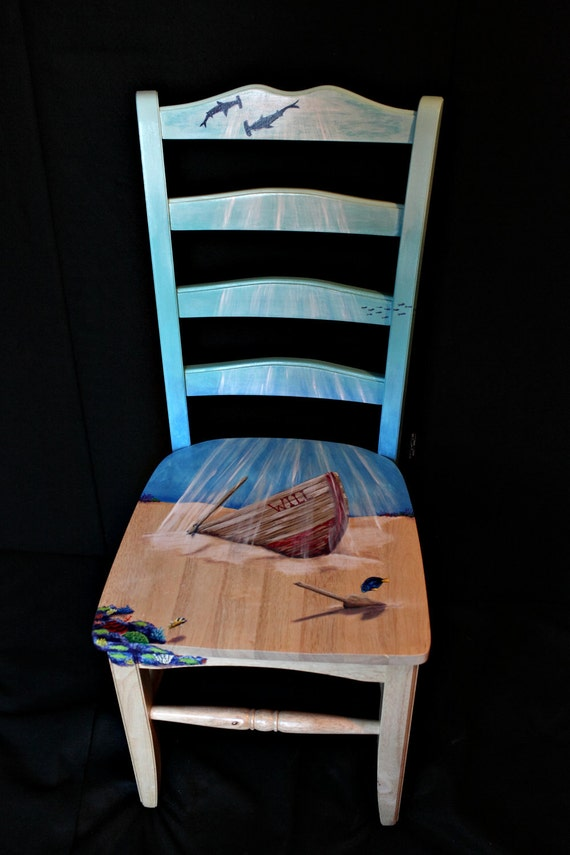 Hand Painted Underwater Themed Chair