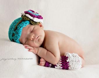 CROCHET PATTERN - Blueberry Muffin Beanie / Headband & Leg Warmers - crochet hat pattern baby photo prop flower headband PDF pattern