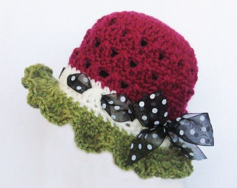 CROCHET PATTERN -Watermelon Hat - (5 sizes included) Instant Download baby girl beanie toddler sun hat girls summer hat newborn accessories