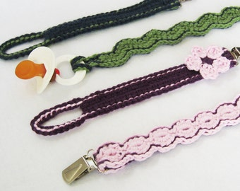Pacifier Clips CROCHET PATTERN PDF instant Download dummy clips newborn gift baby shower baby boy baby girl pacifier clip