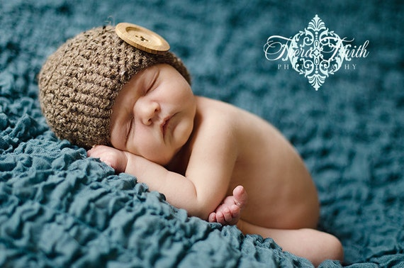 CROCHET PATTERN Cute as a Button Beanie (10 sizes included from preemie-adult) Instant Download