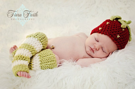 Baby CROCHET PATTERN Strawberry Shortcake Beanie & Leg Warmers (4 sizes included) Instant Download