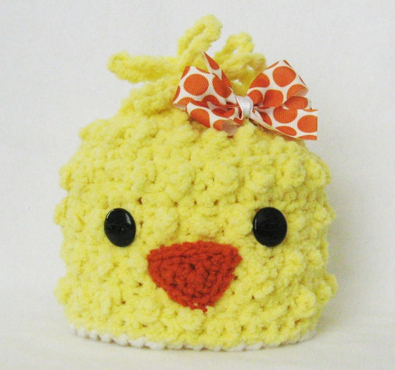 CROCHET PATTERN Spring Chick Beanie with BONUS Hairbow Tutorial (6 sizes included) Instant Download