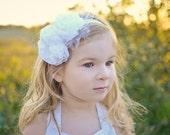 Flower girl headband Ivory headband White flower headband Christening headband Ivory flower girl headband Flower crown Bridal headband