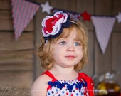 "Fourth of July Headband ""BETSY"" - Girls Red White & Blue Flower Headband, Independence Day"