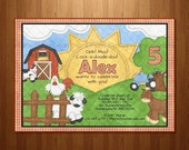 Farm Animal Invitation Printable Invitation- On the Farm Invitation - Bag Tag Available - Print it Yourself