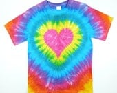 Size 2X, 3X, 4X Tie Dye T Shirt / Pink Heart Tie Dye / Valentine's Day / Eco-friendly Dyeing