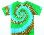 Adult Tie Dye, Green, Blue, and Brown Spiral, T-Shirt, Eco-friendly Dyeing