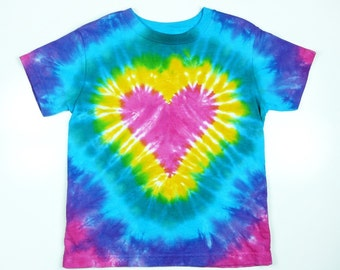Infant Tie-Dye T-Shirt, Pink Heart, Eco-friendly