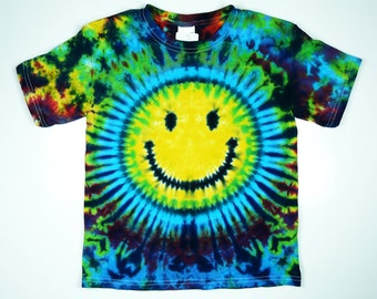 Smiley Face Tie Dye Shirt, Kids Sizes, Eco-friendly Dyeing