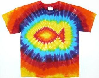 Fish Shirt, Adult Tie Dye T Shirt, Rainbow Colors, Eco-friendly Dyeing