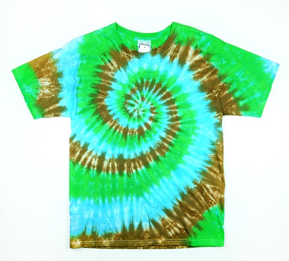 items similar to adult tie dye green blue and brown spiral t shirt eco friendly dyeing on etsy. Black Bedroom Furniture Sets. Home Design Ideas