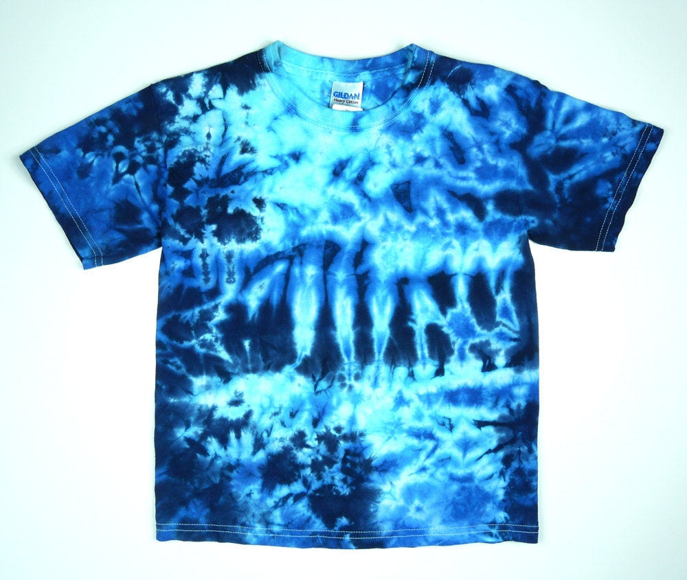 Tie Dye Youth T Shirt Crumpled Blues Design Sizes Xs S